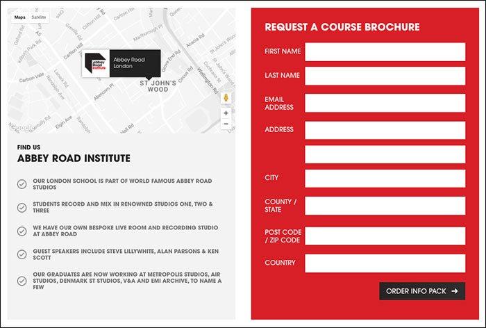 Llamada a la acción en el sitio web de Abbey Road Institute