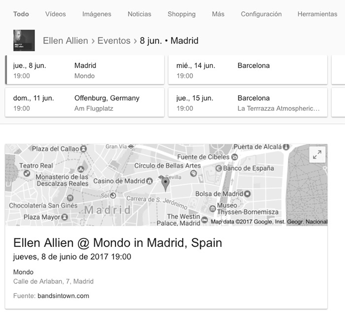 Lista de resultados de conciertos en Google