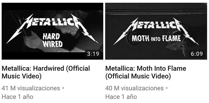 Imágenes en miniatura de vídeos musicales en Youtube