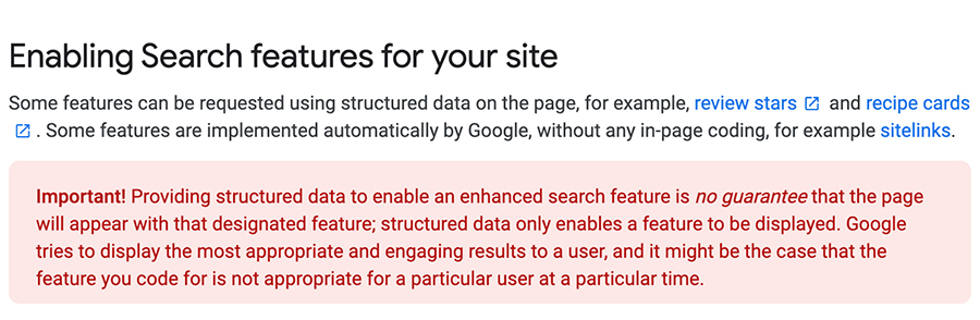 Search features y datos estructurados