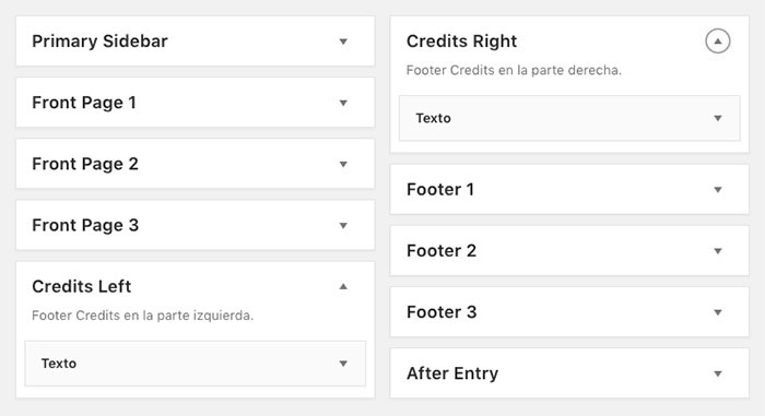 Widget areas para los Credit Text en el footer